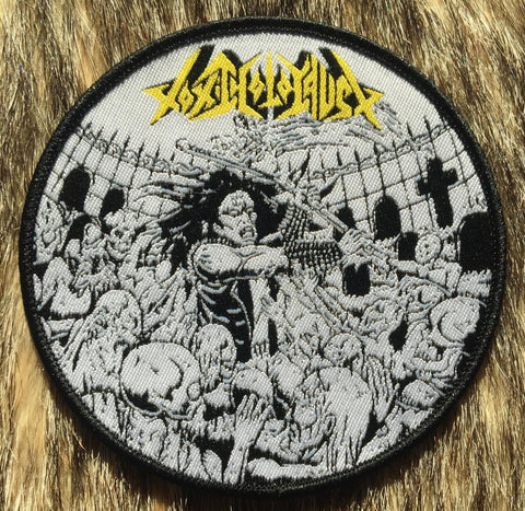 Toxic Holocaust - Evil Never Dies Black Border Circular Patch