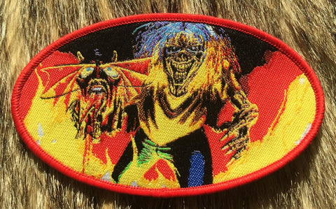 Iron Maiden - Number Of The Beast Red Border Oval Patch
