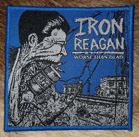 Iron Reagan - Worse than Dead Blue Border Limited Patch