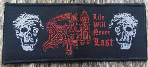 Death - Life Will Never Last Black Border Red Text Patch