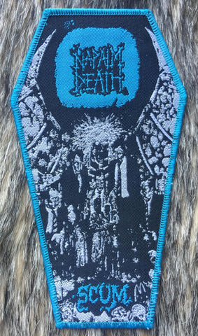 Napalm Death - Scum Blue Border Coffin Shaped Patch