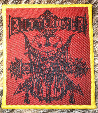 Bolt Thrower - Skull n Chain Yellow Border Patch