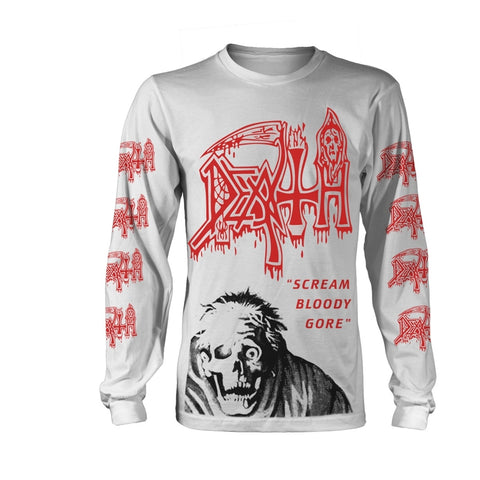 Death - Scream Bloody Gore Jumbo Print White Long Sleeve Shirt
