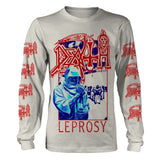 Death - Leprosy Blue & Red White Long Sleeve Shirt