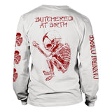 Cannibal Corpse - Logo Butchered at Birth White Long Sleeve Shirt