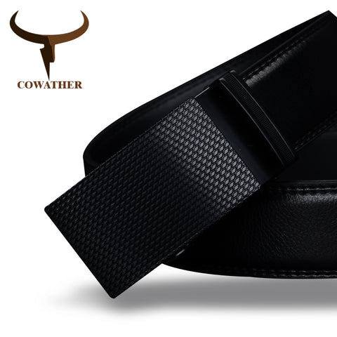 Men's COWATHER Luxury High Quality Genuine Leather Black Belt
