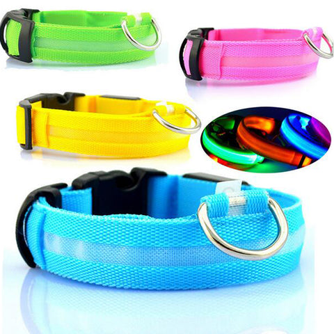 Nylon Safety LED Light Up Pet Dog Collar XS-XL 7 Colors