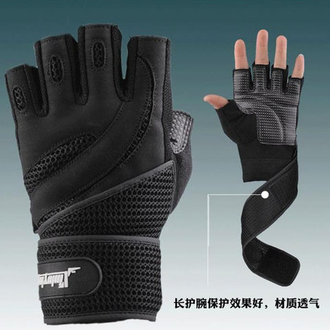 Men's Body Building Fitness Weight Lifting Half Finger Gloves
