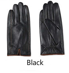 Men's Luxury Genuine Goatskin Leather Touch Screen Fashion Gloves 3 Colors
