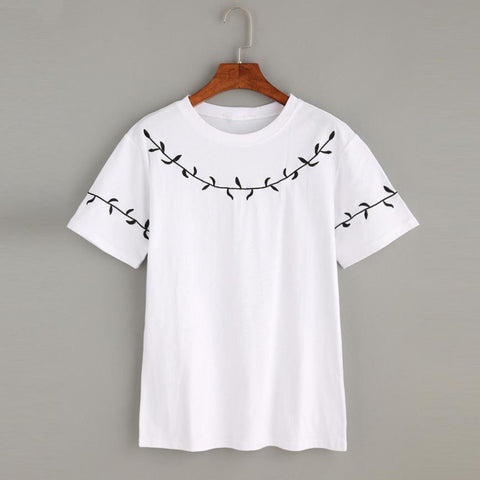 Women's Leaf Embroidery White Short Sleeve T-Shirt Shirt