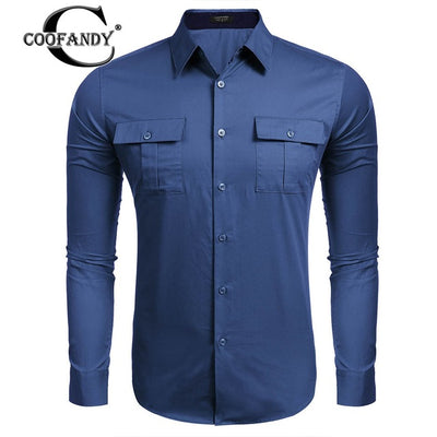 Men's Long Sleeve Solid Pocket Button Down Shirt 3 Colors
