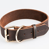 Genuine Leather Metal Buckle Dog Collar Brown Black