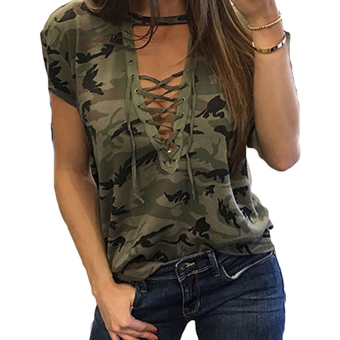 Women's Sexy Laced V-Neck Short Sleeve Camouflage T-Shirt Shirt Top