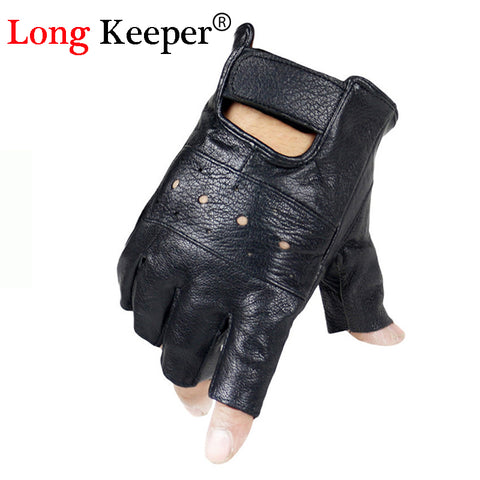 Men's Genuine Sheepskin Leather Half Finger Fingerless Gloves