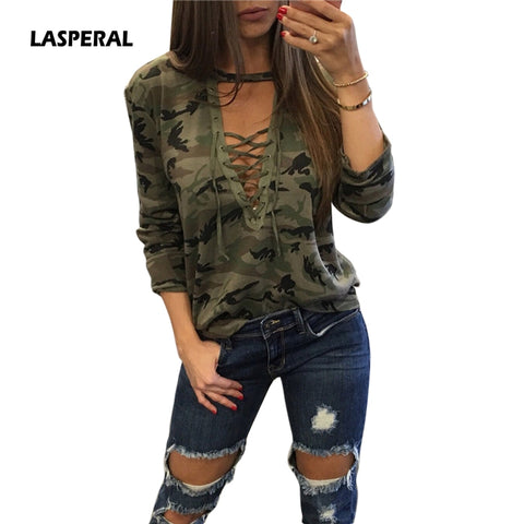 Women's Sexy Laced V-Neck Long Sleeve Camouflage T-Shirt Shirt Top Plus Size