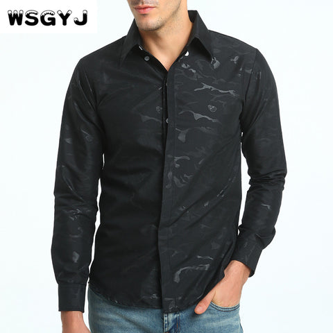 Men's Long-Sleeve Camouflage Slim Fit Dress Shirt 3 Colors