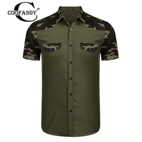 Men's COOFANDY Camouflage Patchwork Short Sleeve Collar Casual Shirt US Size