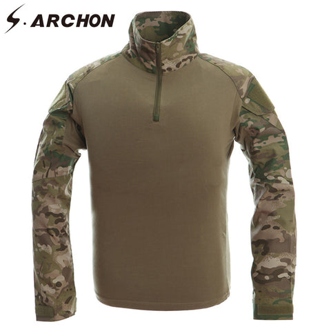 Men's Military Tactical Camouflage Long Sleeve Shirt 10 Colors