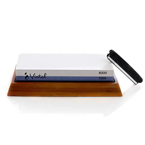 Premium Knife Sharpening Stone | Sharpen Outdoor/Survival Knives | Dual Grit 1000/6000 | Non-Slip Bamboo Base & Angle Guide