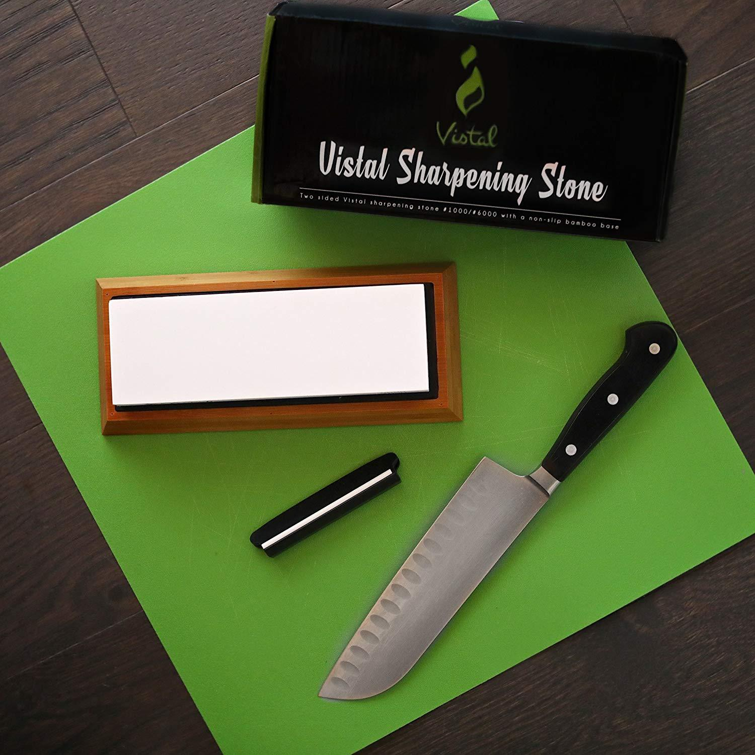 Premium Sharpening Stone | Sharpen Outdoor/Survival Knives | Dual Grit 1000/6000 | Non-Slip Bamboo Base & Angle Guide