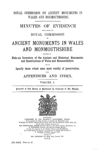Minutes of Evidence given before the Royal Commission on Ancient Monuments in Wales and Monmouthshire (eBook)