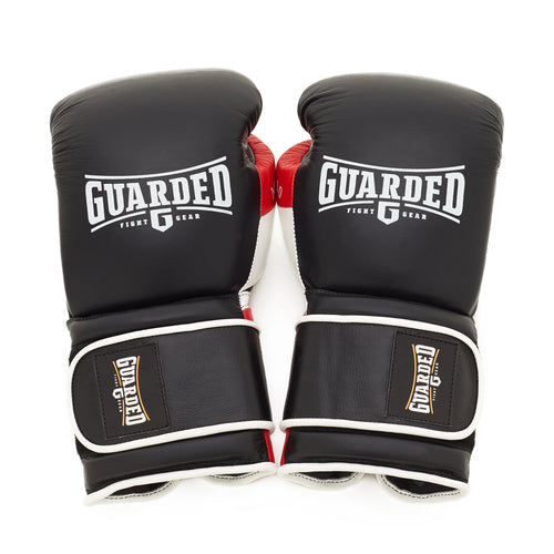 Boxing Gloves for Bag work & Sparring, Black & Red, 12oz/16oz, MAK-10 by Guarded Fight Gear