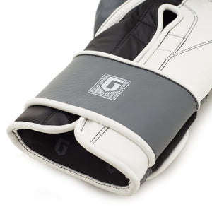 Boxing Gloves for Bag work and Sparring, Grey and White, 12oz/16oz, MAK-10 by Guarded Fight Gear