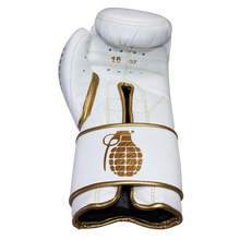 Sparring Gloves, White and Gold, 16oz, Grenades Sparring By Guarded Fight Gear