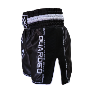 Muay Thai Shorts, Black and White, XS, S, M, L, XL by Guarded Fight Gear