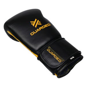 Boxing Gloves for Bag work & Sparring, Black & Yellow, 12oz/16oz, Beretta Pro by Guarded Fight Gear