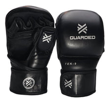 TEK-9 MMA Sparring Gloves 7oz, Black, By Guarded Fight Gear