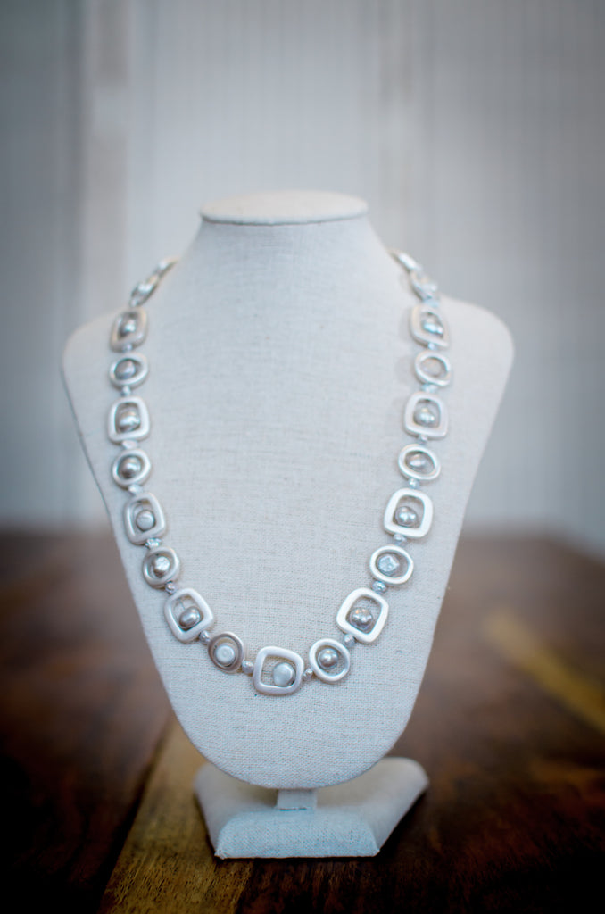 Metal and Pearl Necklace
