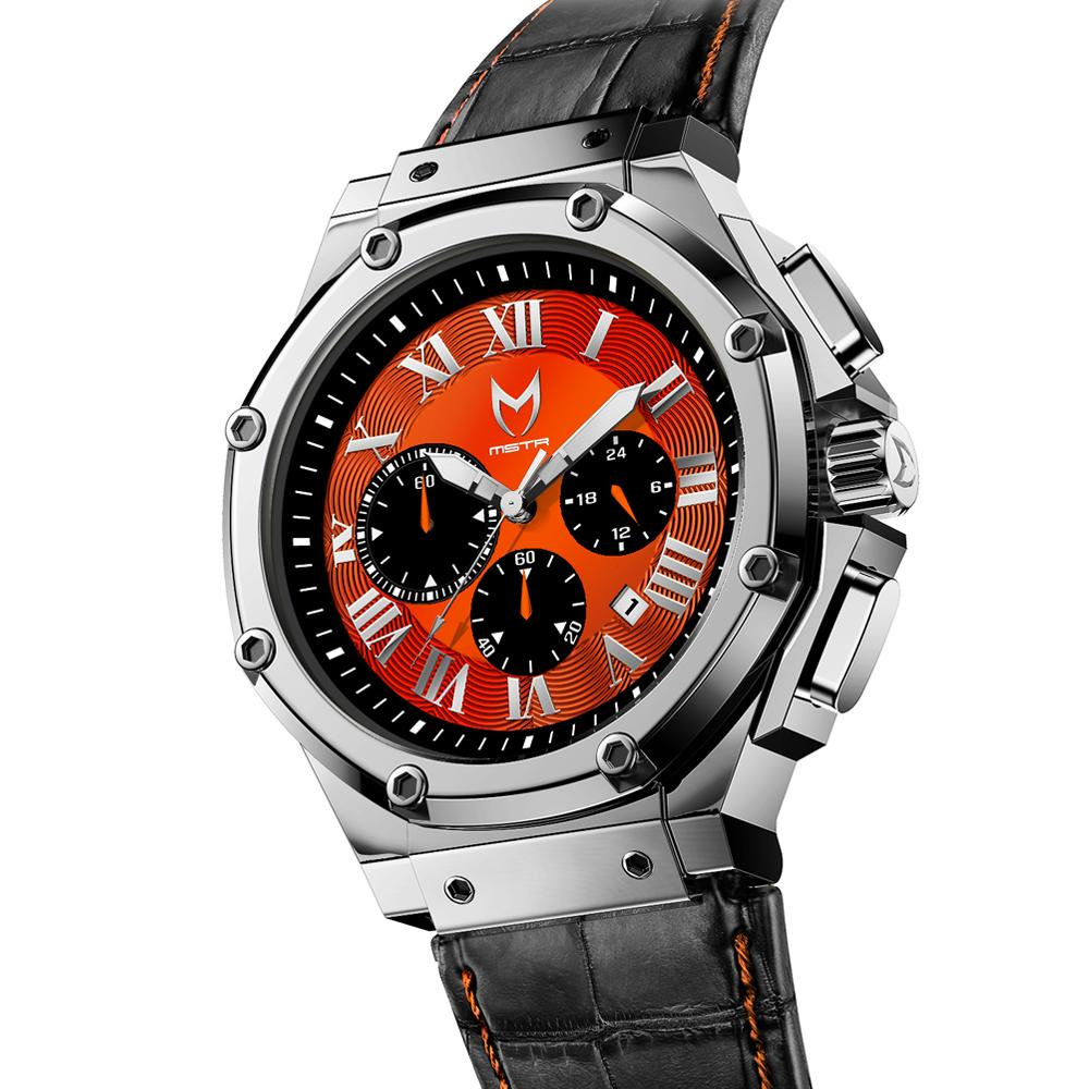 MSTR AM1007CB - AMBASSADOR SEMI POLISHED SILVER / ORANGE / CROC STYLE BAND