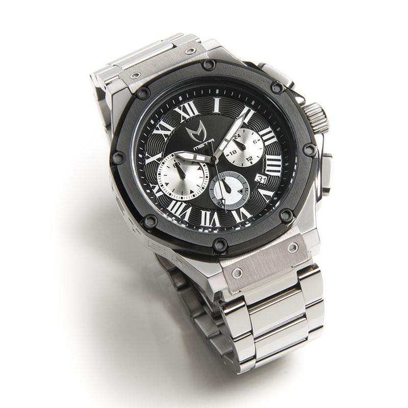 MSTR AM169SS AMBASSADOR HIGH POLISHED TITANIUM GREY & BLACK / STAINLESS STEEL BRACELET