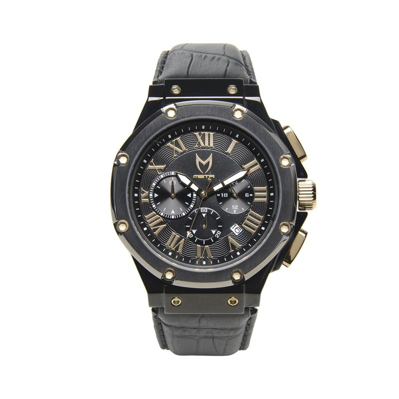 MSTR AM178CB - AMBASSADOR BLACK / BLACK / CROC STYLE LEATHER BAND