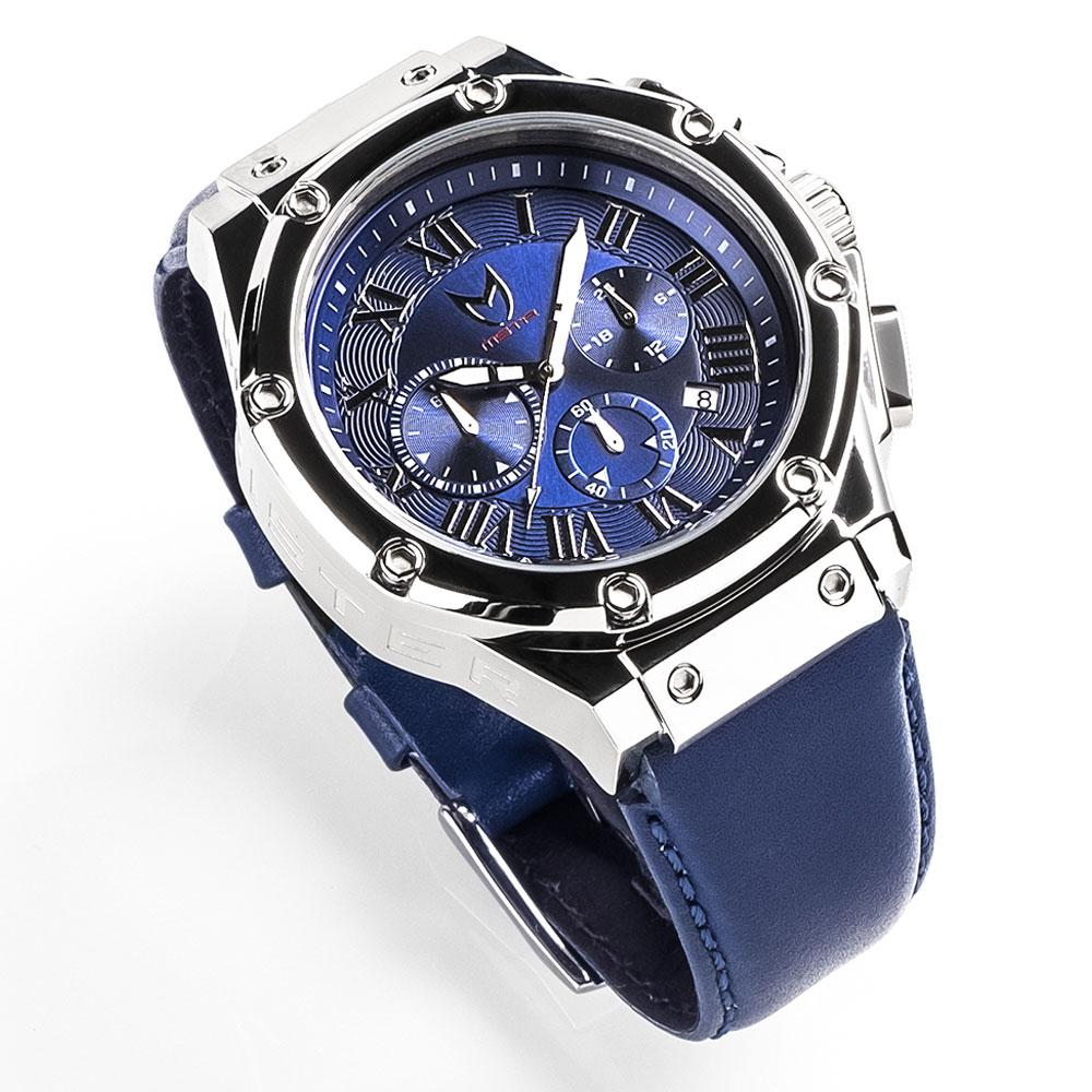 MSTR AM190LB - AMBASSADOR POLISH SILVER / BLUE / LEATHER BAND