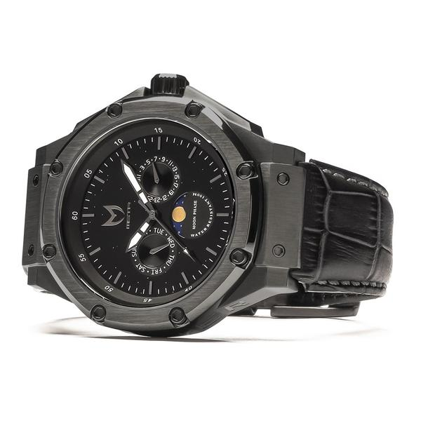 AM305CB - MSTR AMBASSADOR MOONPHASE BLACK / BLACK CROC LEATHER BAND  AM305CB