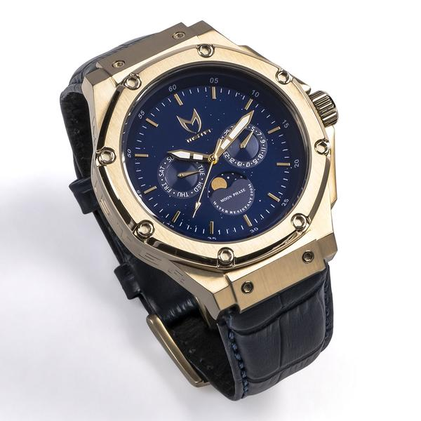 AM307CB - MSTR AMBASSADOR MOONPHASE CHAMPAGNE GOLD / BLUE / LEATHER BAND