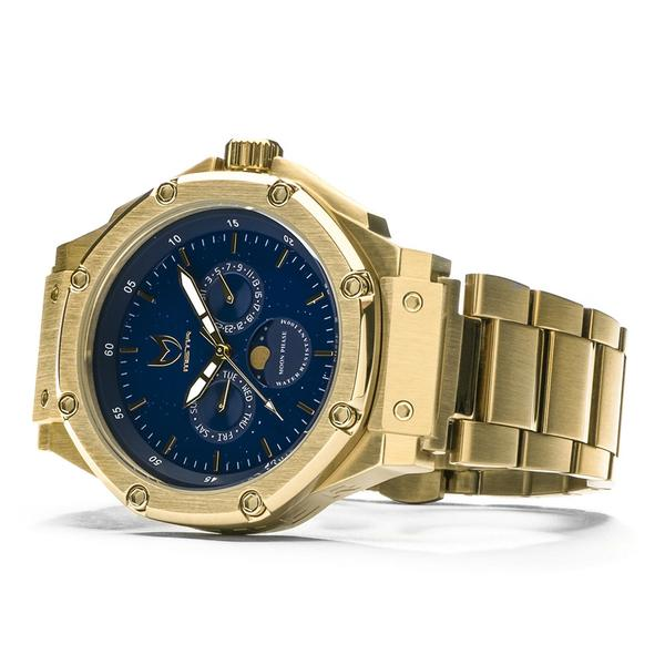 AM307SS - MSTR AMBASSADOR MOONPHASE CHAMPAGNE GOLD / BLUE / SS BAND