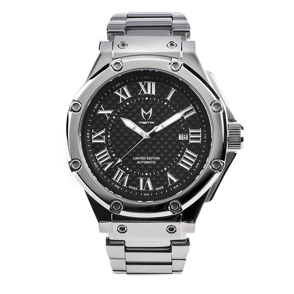 MSTR AM309SS - AMBASSADOR POLISHED SILVER AUTOMATIC / SS BAND SWISS ETA NEW