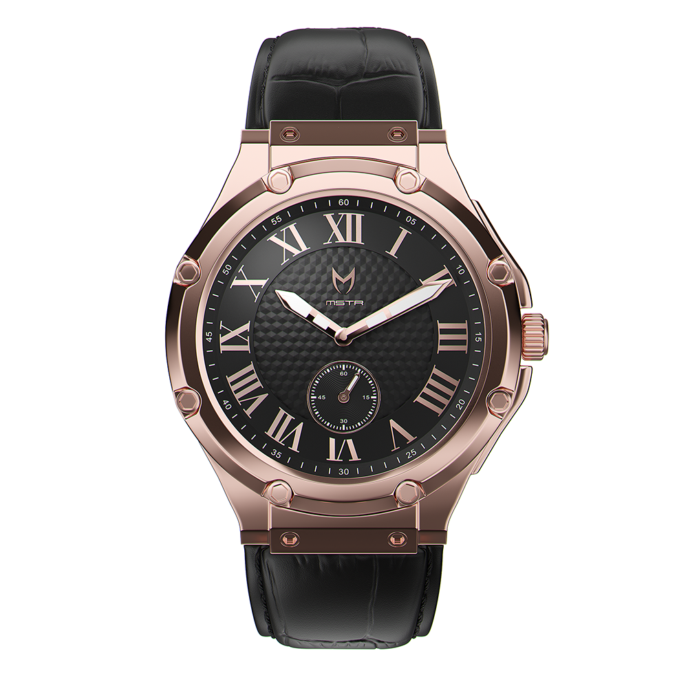 MSTR AU102CB AMBASSADOR ULTRA SLIM ROSE GOLD / BLACK / CROC STYLE LEATHER BAND
