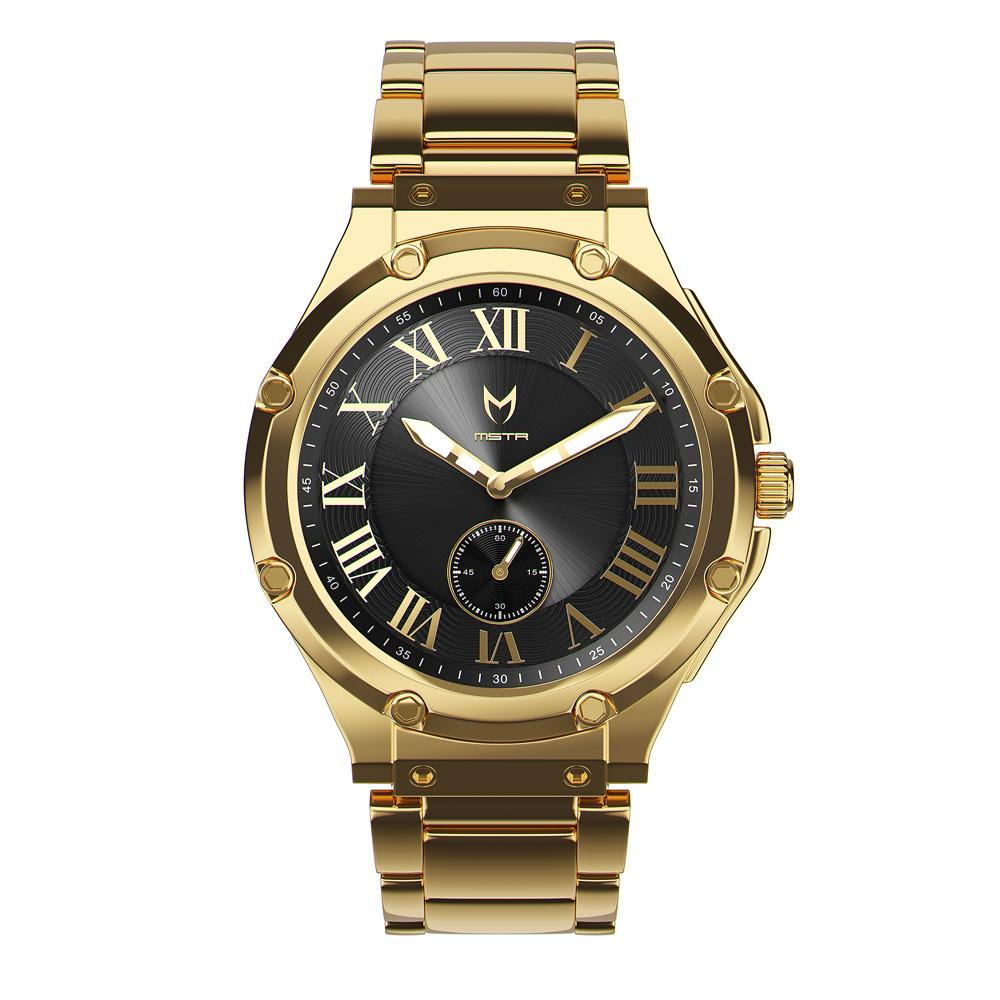 AU110SS- MSTR ULTRA SLIM 18K GOLD / BLACK / SS BAND