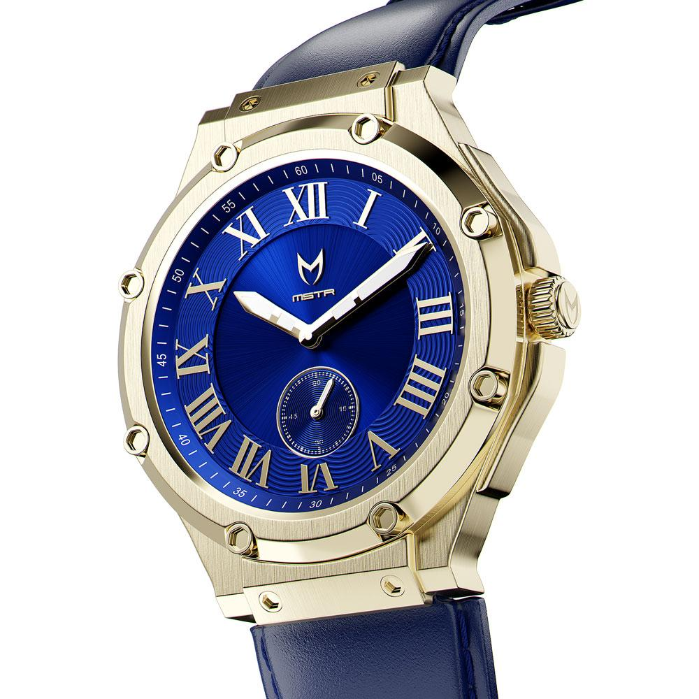 AU113LB- MSTR ULTRA CHAMPAGNE GOLD / BLUE / LEATHER BAND