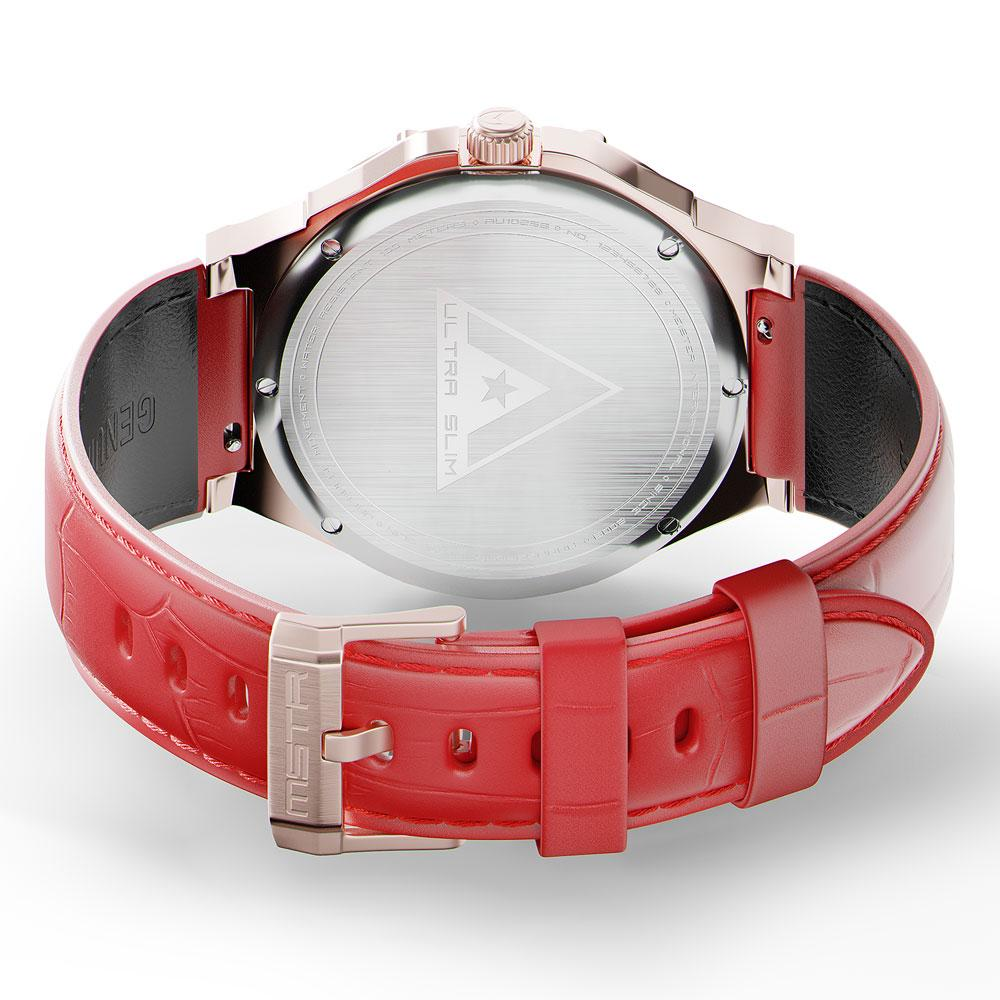 AU114CB- MSTR ULTRA ROSE GOLD / RED / LEATHER BAND