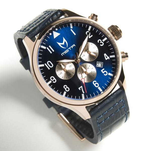 MSTR AV117CB AVIATOR - POLISHED ROSE GOLD / BLUE / BLUE CROC BAND NEW