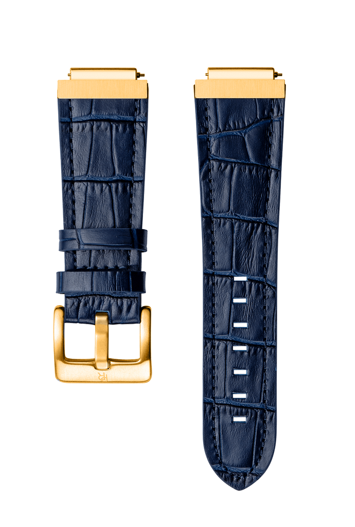 LEATHER WATCHBAND - GOLD BLUE