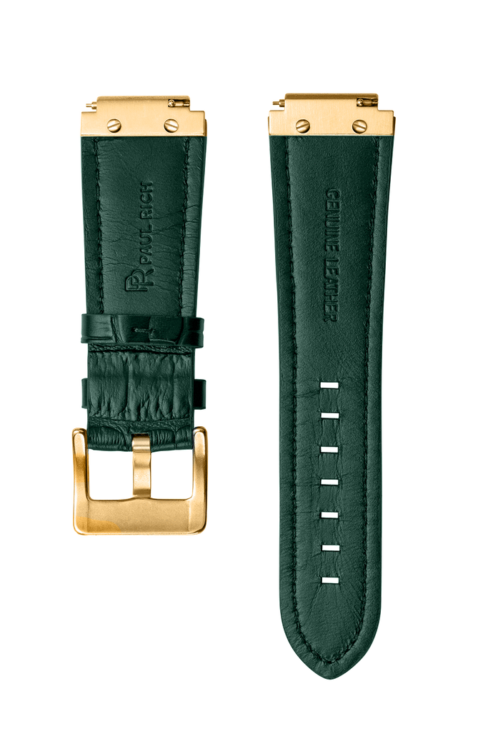 LEATHER WATCHBAND - GOLD GREEN