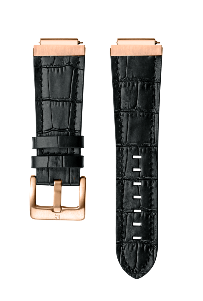 LEATHER WATCHBAND - ROSE GOLD BLACK