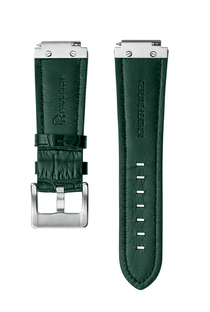 LEATHER WATCHBAND - SILVER GREEN
