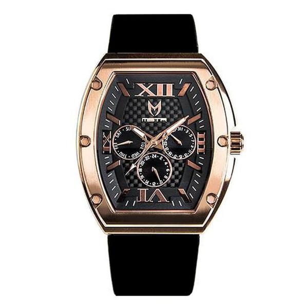 MSTR MJ102PRB Major Polished Rose Gold with Black - Rubber Strap
